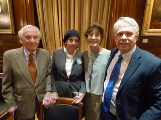 Nan A. Talese is flanked by A. E. Hotchner to her right and Anne C. Heller and BIO President Will Swift to her left.