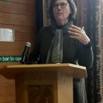 Hermione Lee spoke during lunch on November 5. Lee, who is president of Wolfson College, University of Oxford, where the Oxford Centre for Life-Writing is located, won BIO's Plutarch Award in 2015.