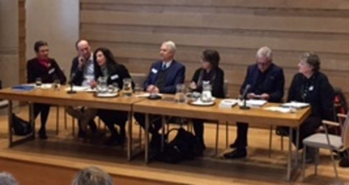 Panelists (from left to right) Gayle Feldman, Max Saunders, Harriet Reisen, Will Swift, Anne Boyd Rioux, Robert Lacey, and Quincy Whitney disccus lesser known lives.