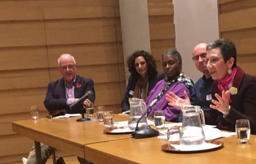 The second panel on history and biography included Iwan Morgan, Maryam Thirriard, Sonja Williams, Dennis Kersten, and Gayle Feldman. Not shown are Betty Boyd Caroli, Anne de Courcy, Jane Ridley, and Carl Rollyson.